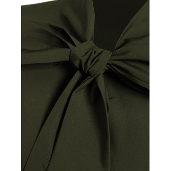 Pussy Bow Tied Neck Shirt Dress - OLIVE GREEN M