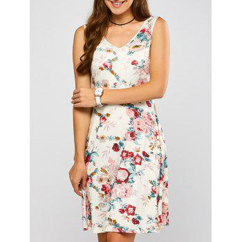 Sleeveless Blossom Print Swing Dress