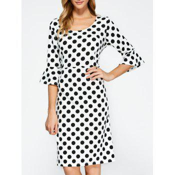 Polka Dot Bell Sleeves Sheath Dress