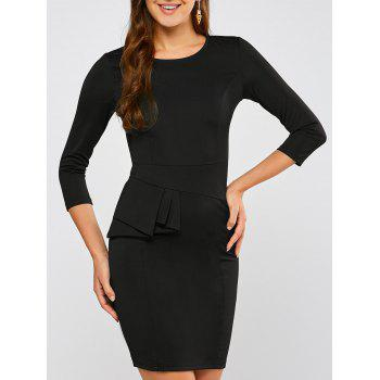 Ruffled Back Slit Sheath Dress