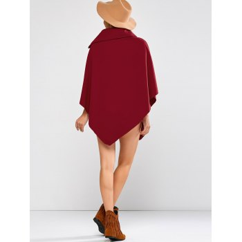Asymmetric Hem Poncho - WINE RED WINE RED