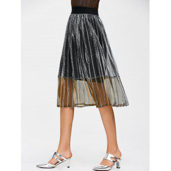 Metallic High Waist Pleated Skirt