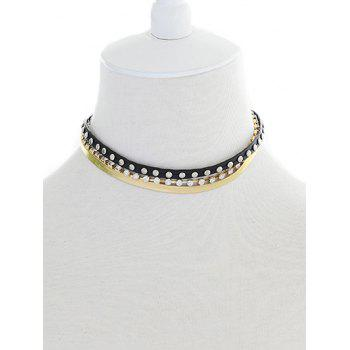 Rhinestone Faux Leather Layered Choker