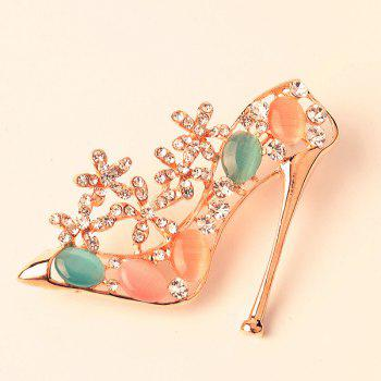 High Heeled Shoe Rhinestone Enamel Brooch