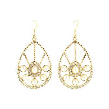 Faux Pearl Rhinestone Waterdrop Earrings