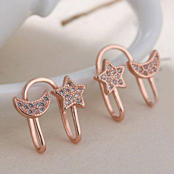 Star Rhinestone Clip Earrings Without Piercing