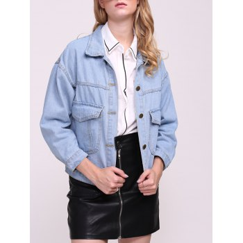 Boyfriend Denim Jacket with Pockets