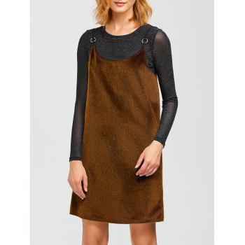 Spaghetti Strap Faux Fur Dress