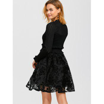 Ruffled Knitwear and Floral Pattern Dress Twinset - BLACK ONE SIZE