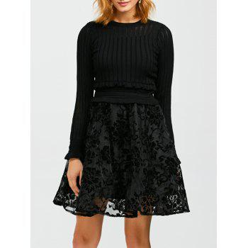 Ruffled Knitwear and Floral Pattern Dress Twinset