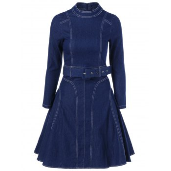 Fit and Flare Vintage Denim Dress With Belt