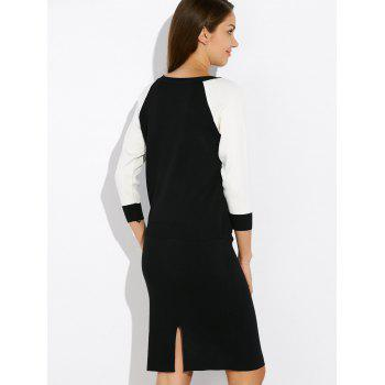 Raglan Sleeve Knitwear and Slit Skirt Twinset - BLACK ONE SIZE