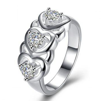 Rhinestone Engraved Heart Shape Ring