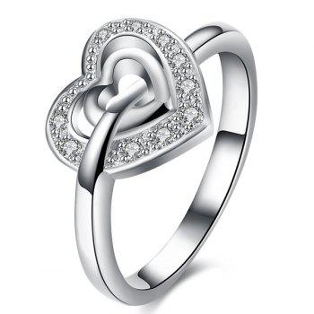 Rhinestone Double Heart Shape Ring