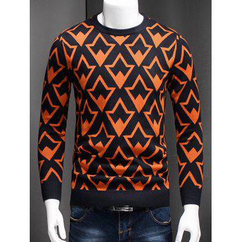 Geometric Graphic Plus Size Long Sleeve Sweater