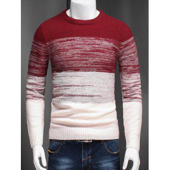 Color Block Ombre Spliced Plus Size Long Sleeve Sweater