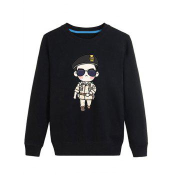 Cartoon Soldier Print Long Sleeve Sweatshirt