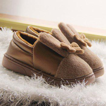 Bowknot PU Panel Flocking House Slippers