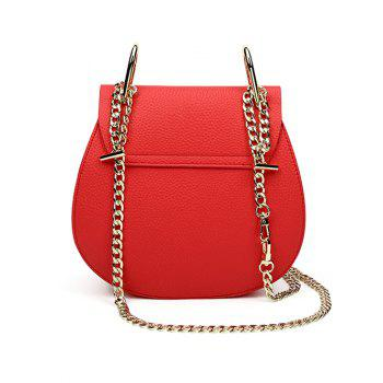 Textured PU Leather Chains Crossbody Bag -  RED