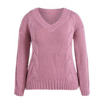 Cable Knit Plus Size Pullover Sweater