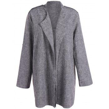 Open Front Plus Size Lapel Coat
