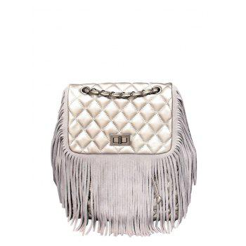 PU Leather Fringe Quilted Backpack