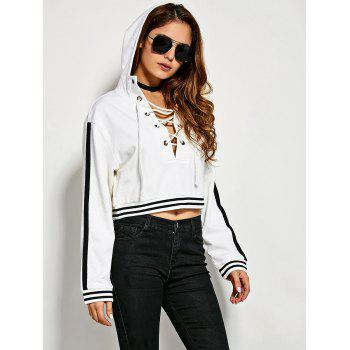 Criss Cross Striped Pattern Two Tone Hoodie