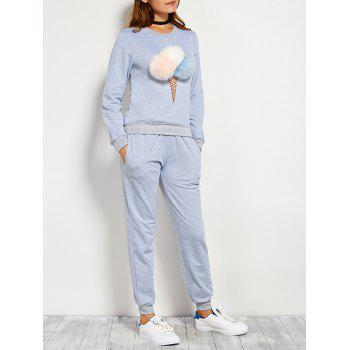 Pompons Pullover Sweatshirt and Running Jogger Pants - BLUE GRAY BLUE GRAY