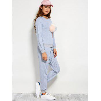 Pompons Pullover Sweatshirt and Running Jogger Pants - BLUE GRAY M