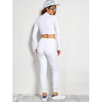 Long Sleeve Crop Top and Drawstring Pants - WHITE L