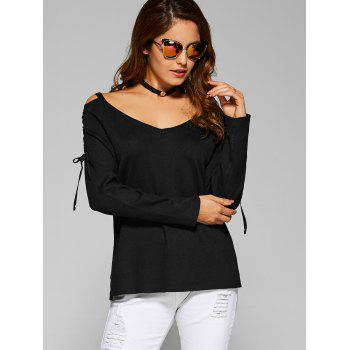 Criss Cross Side Slit Hollow Out Sweater - BLACK ONE SIZE