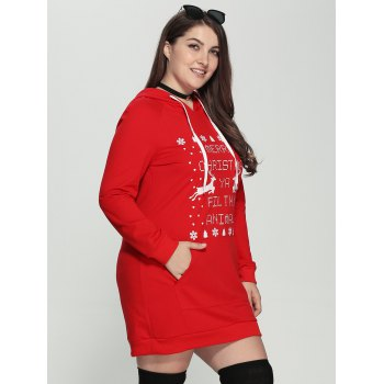 plus size long sleeve letter print christmas hooded sweatshirt