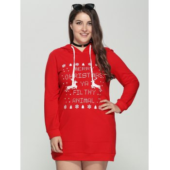 Plus Size Long Sleeve Letter Print Christmas Hooded Sweatshirt Dress
