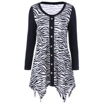 Plus Size Zebra Print Single Breasted Tee