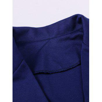 One Button Lapel Asymmetric Jacket Blazer - DEEP BLUE XL