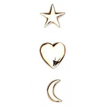 3PCS Star Moon Heart Brooch Set