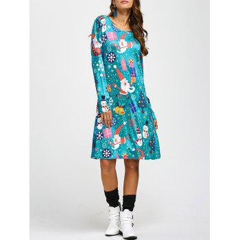 Jewel Neck Father Christmas Cartoon Print Long Sleeve Dress