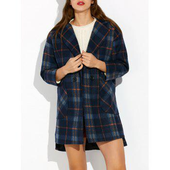 High Low Checked Wool Coat