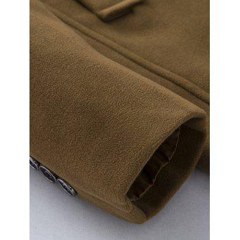Epaulet Design Single Breasted Pocket Woolen Coat - KHAKI 2XL