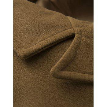 Epaulet Design Single Breasted Pocket Woolen Coat - KHAKI KHAKI
