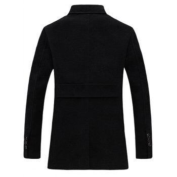 Epaulet Design Single Breasted Pocket Woolen Coat - BLACK BLACK