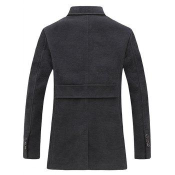 Epaulet Design Single Breasted Pocket Woolen Coat - GRAY L