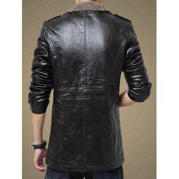 Single Bresated Faux Leather Flocking Jacket - BLACK 2XL
