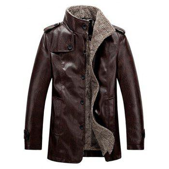 Single Bresated Faux Leather Flocking Jacket - COFFEE 3XL