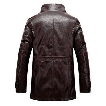 Single Bresated Faux Leather Flocking Jacket - XL XL