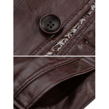Single Bresated Faux Leather Flocking Jacket - COFFEE COFFEE