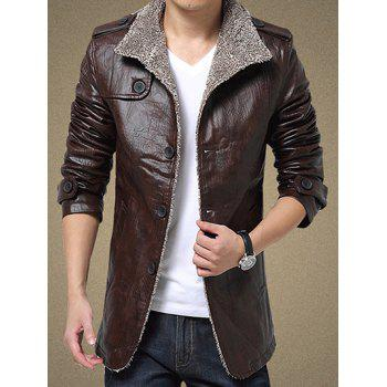 Single Bresated Faux Leather Flocking Jacket - COFFEE XL