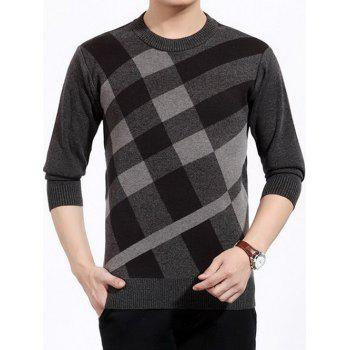 Color Block Plaid Print Crew Neck Sweater