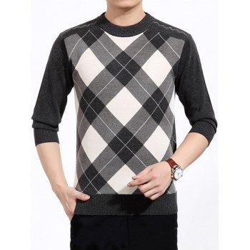 Argyle Crew Neck Color Block Sweater