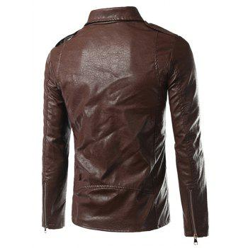 Side Zip Up Epaulet Design Pocket Faux Leather Jacket - L L